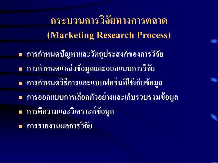 กระบวนการวิจัยทางการตลาด