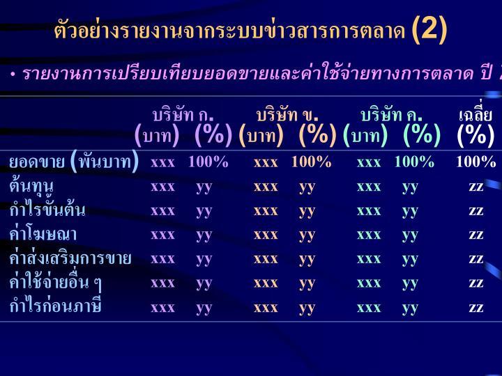 ตัวอย่างรายงานจากระบบข่าวสารการตลาด (2)