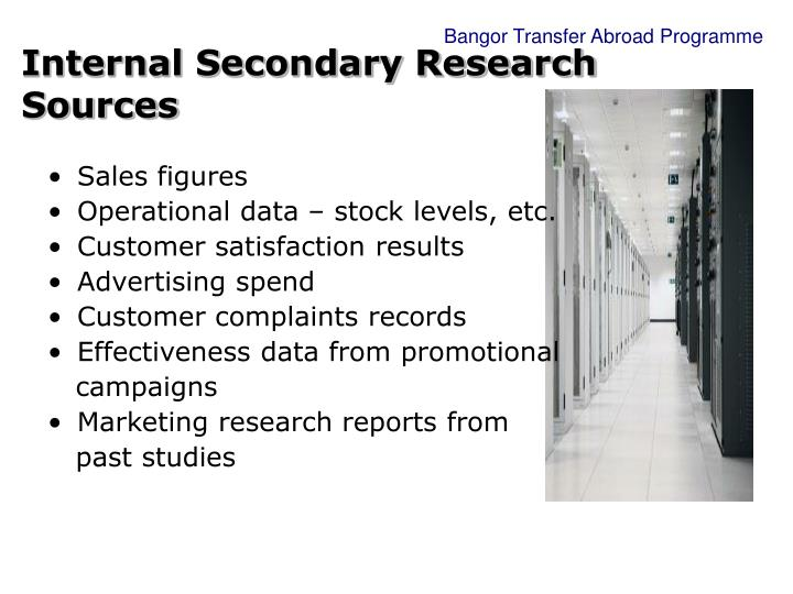 Internal Secondary Research Sources