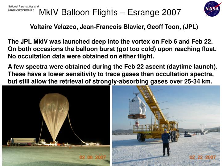 Voltaire Velazco, Jean-Francois Blavier, Geoff Toon, (JPL)