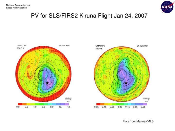 PV for SLS/FIRS2 Kiruna Flight Jan 24, 2007