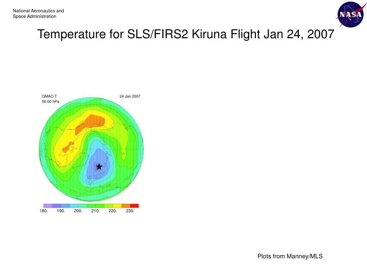 Temperature for SLS/FIRS2 Kiruna Flight Jan 24, 2007