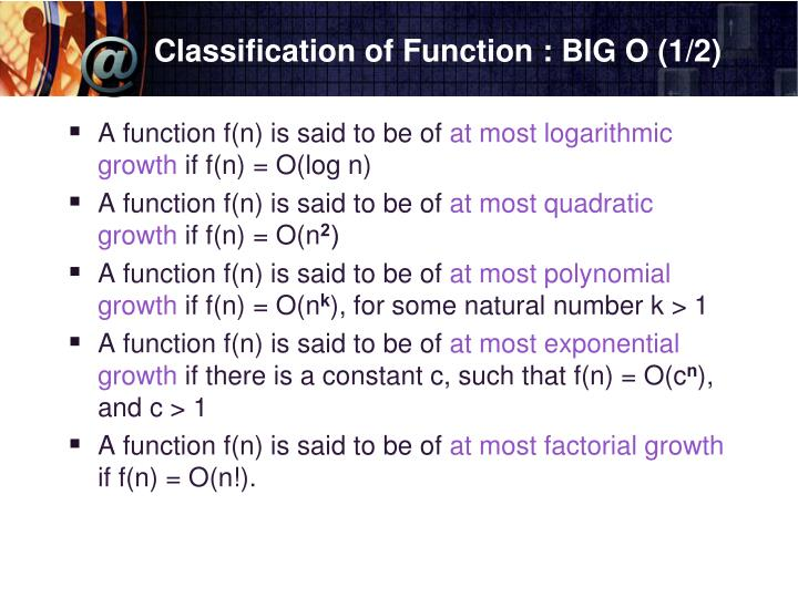 Classification of Function : BIG O (1/2)