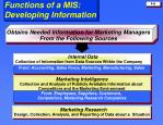 functions of a mis developing information