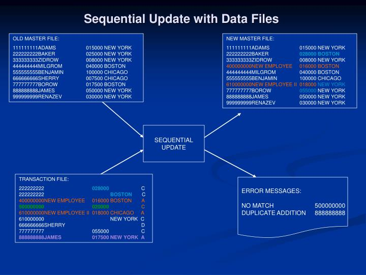 Sequential Update with Data Files