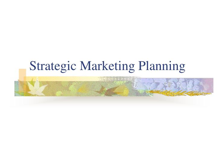 strategic marketing planning n.