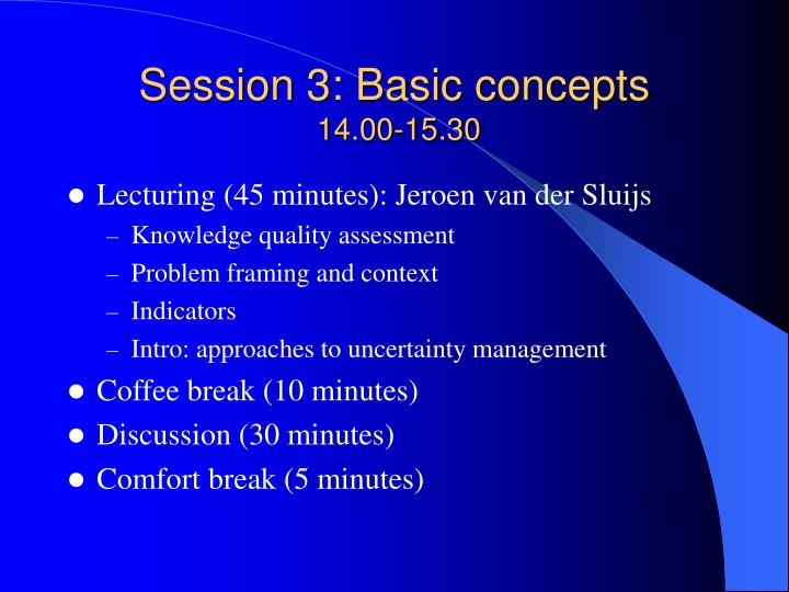 Session 3: Basic concepts