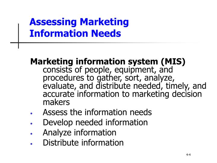 Assessing Marketing        Information Needs