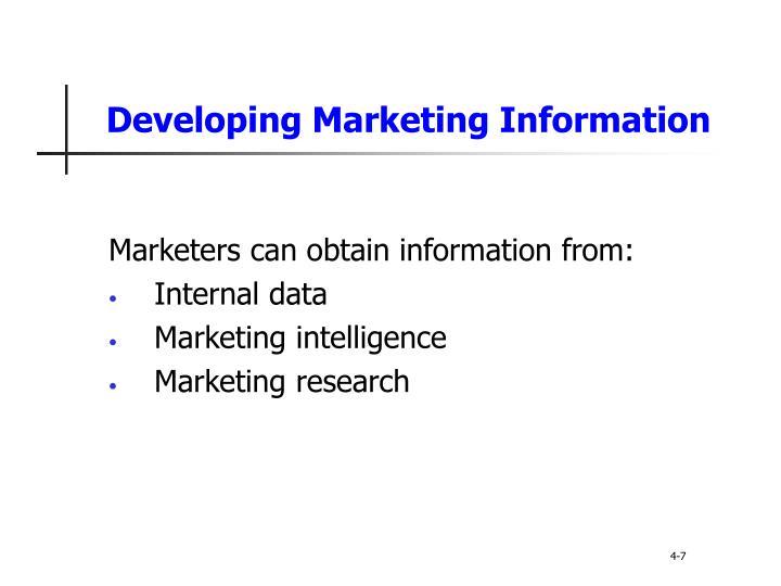 Developing Marketing Information