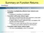 summary on function returns