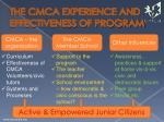 the cmca experience and effectiveness of program
