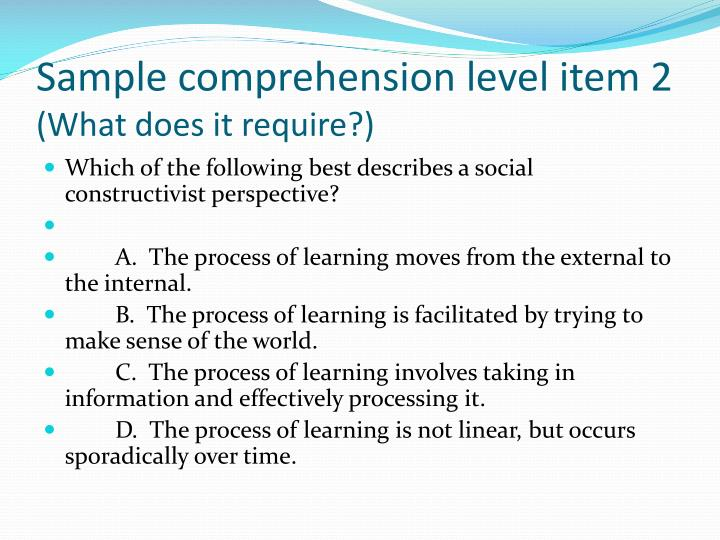 Sample comprehension level item 2