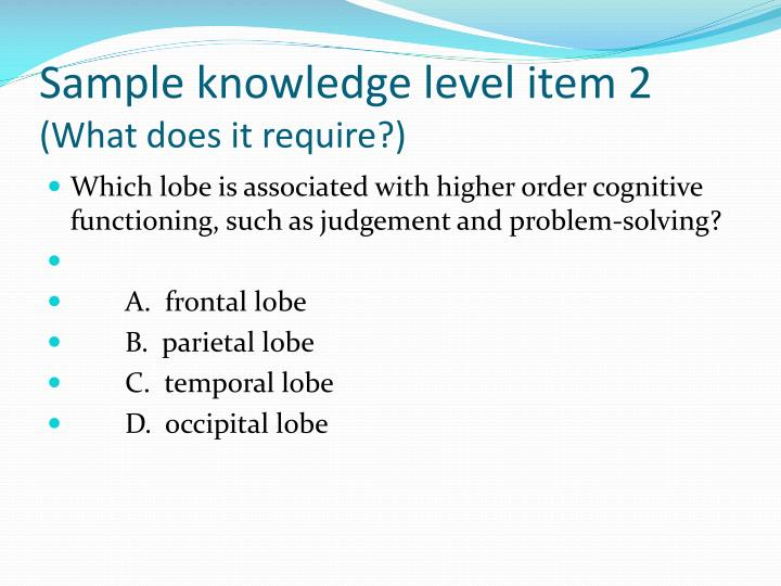 Sample knowledge level item 2