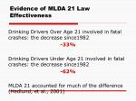 evidence of mlda 21 law effectiveness