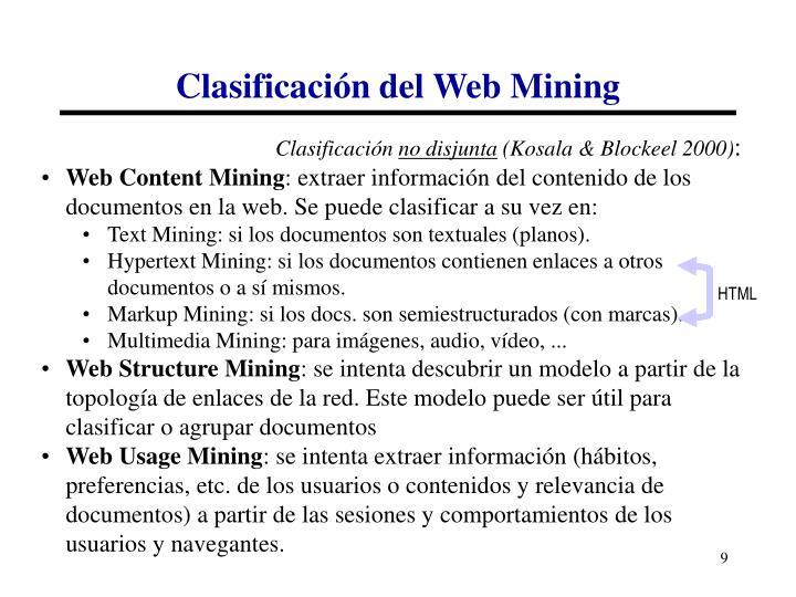 Clasificación del Web Mining
