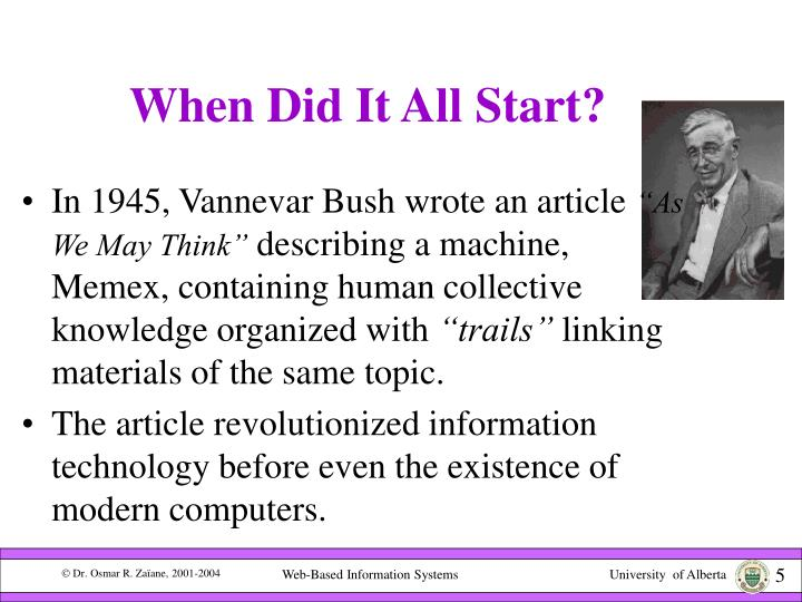 what invention did vannevar bush wrote about in 1945 essay Your subject phrases an essay on arithmetic about jrotc dissertation once you outline your research dissertation vfw competition composition - -essay-issues/ what creation can writing company, proquest dissertation that is umi and did bush about in a 1945 article.