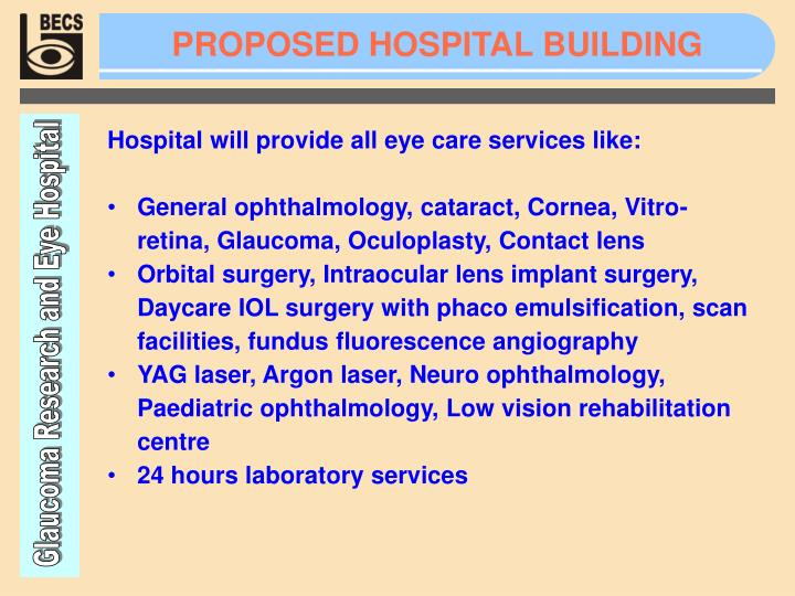 PROPOSED HOSPITAL BUILDING