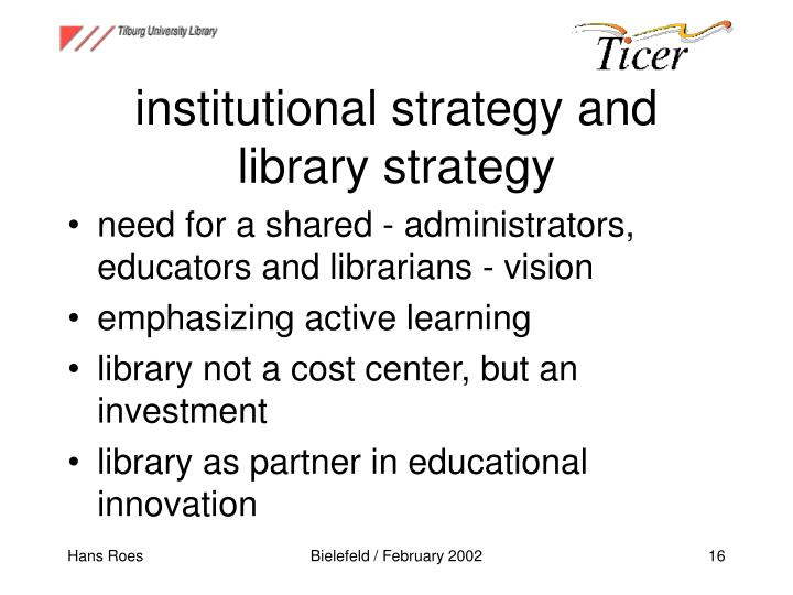 institutional strategy and library strategy