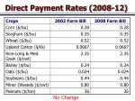 direct payment rates 2008 12