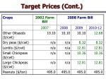 target prices cont