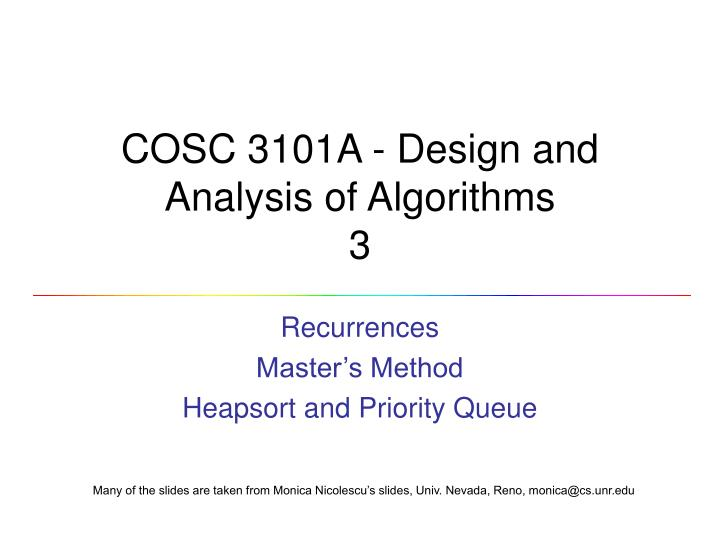 cosc 3101a design and analysis of algorithms 3 n.