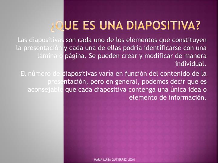 Que es una diapositiva