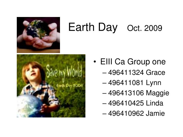 Earth day oct 2009