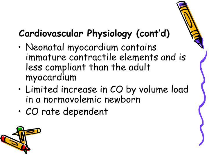 Cardiovascular Physiology (cont'd)