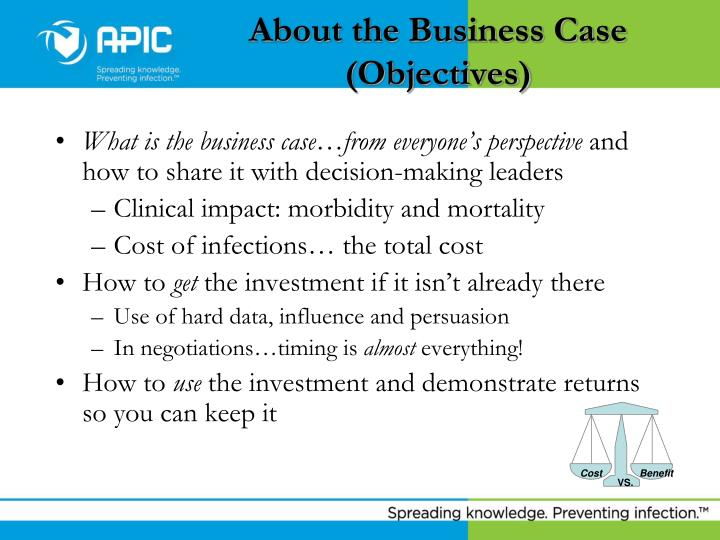 About the business case objectives