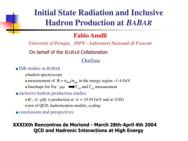 initial state radiation and inclusive hadron production at b a b ar