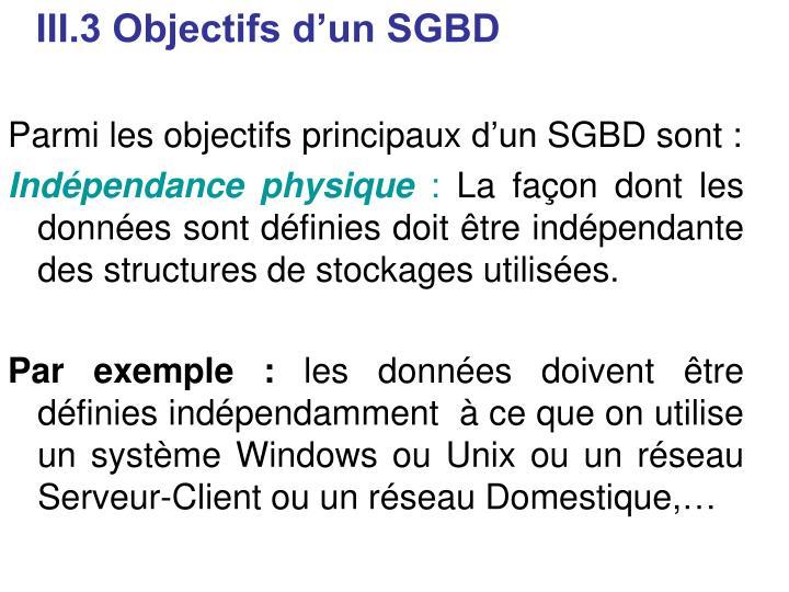 III.3 Objectifs d'un SGBD