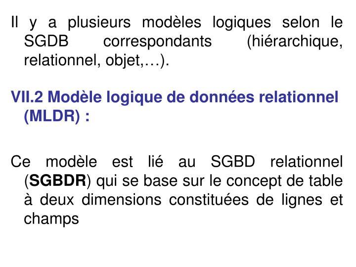 Il y a plusieurs modèles logiques selon le  SGDB correspondants (hiérarchique, relationnel, objet,…).