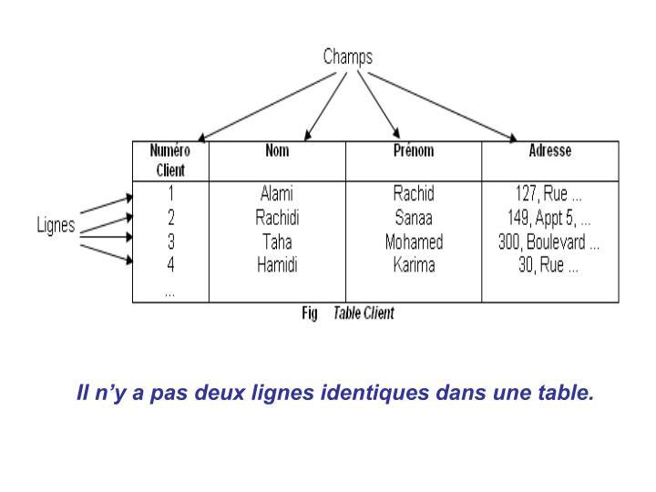 Il n'y a pas deux lignes identiques dans une table.