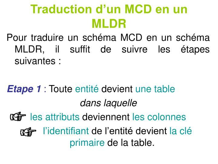 Traduction d'un MCD en un MLDR