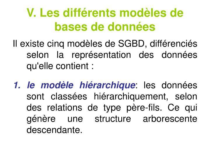 V. Les différents modèles de bases de données