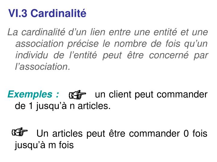 VI.3 Cardinalité