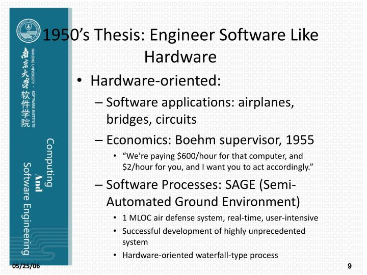 1950's Thesis: Engineer Software Like Hardware