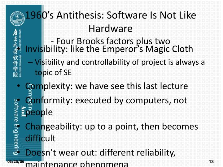 1960's Antithesis: Software Is Not Like Hardware