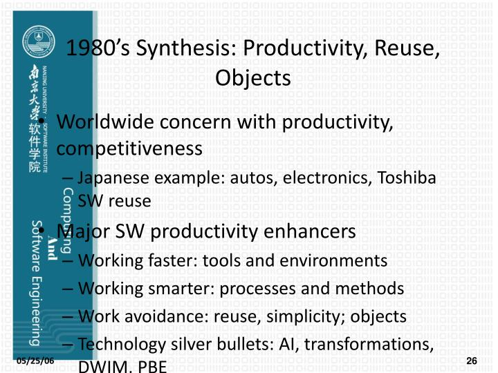 1980's Synthesis: Productivity, Reuse, Objects