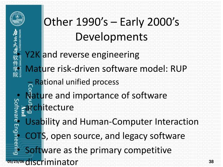 Other 1990's – Early 2000's Developments