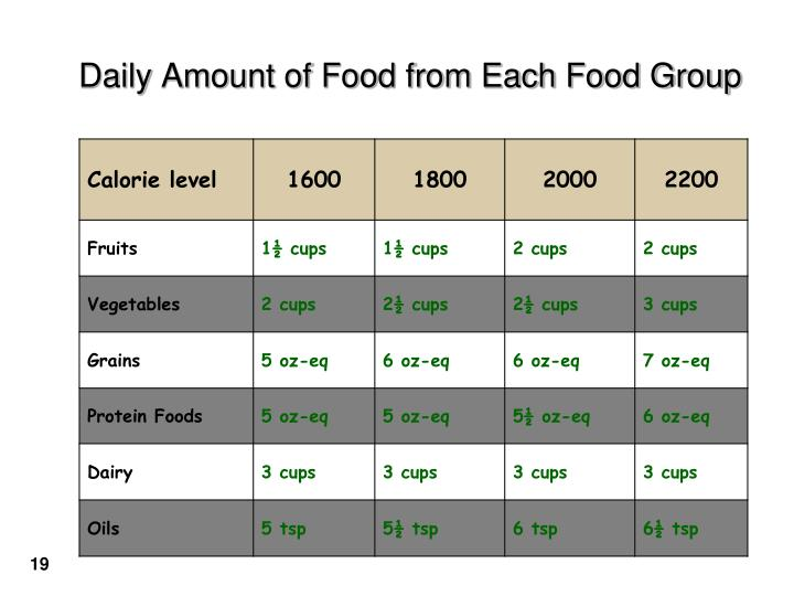 Daily Amount of Food from Each Food Group