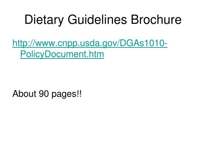 Dietary Guidelines Brochure