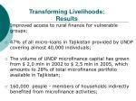 transforming livelihoods results