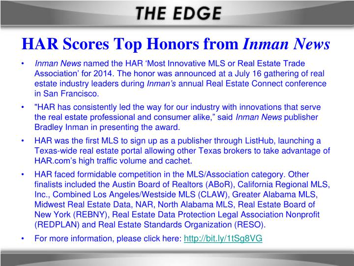 Har scores top honors from inman news
