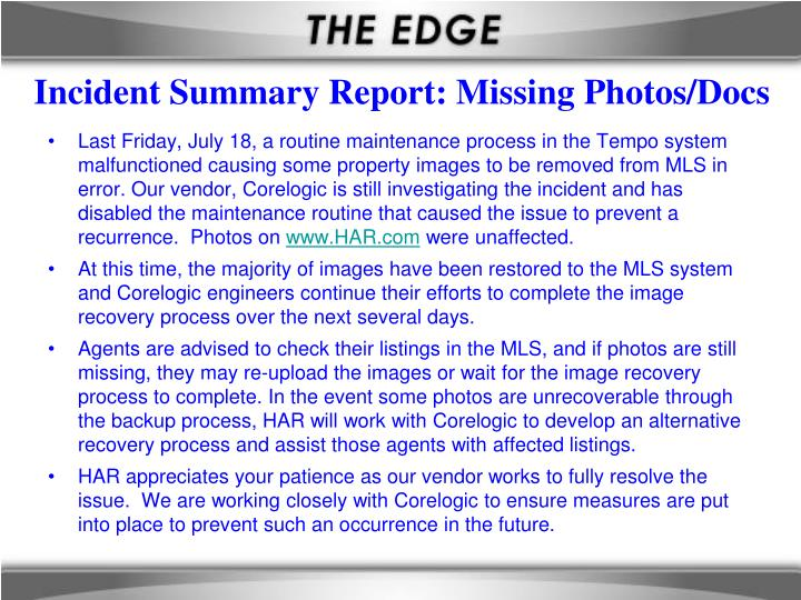 Incident summary report missing photos docs