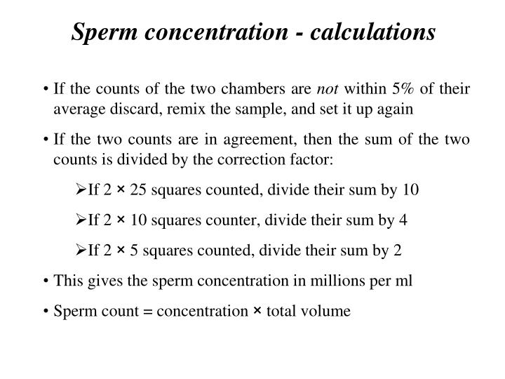 Calculating sperm concentrations
