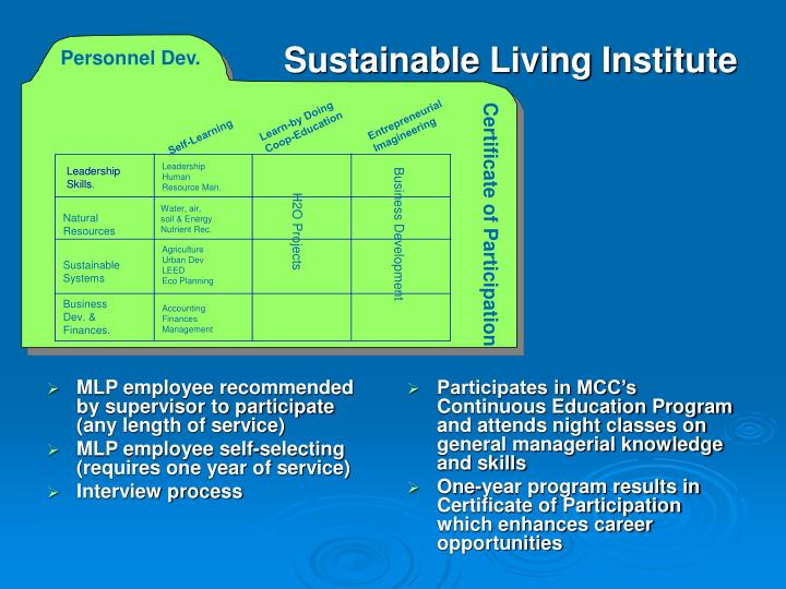 Participates in MCC's Continuous Education Program and attends night classes on general managerial knowledge and skills