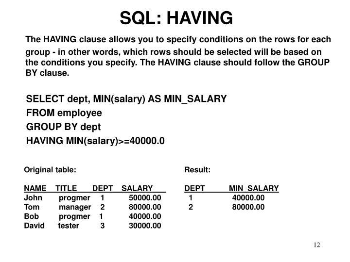 SQL: HAVING