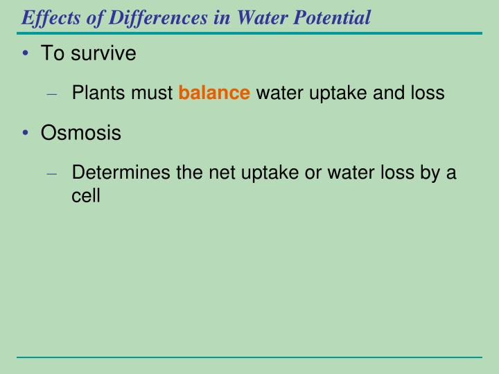 Effects of Differences in Water Potential