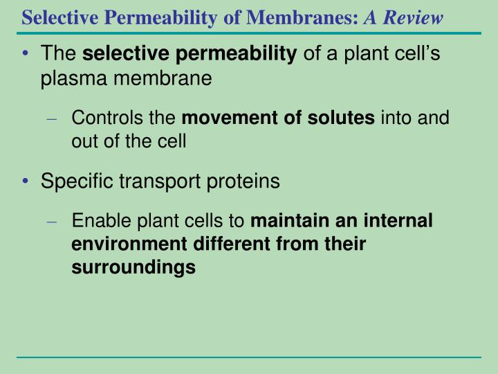 Selective Permeability of Membranes: